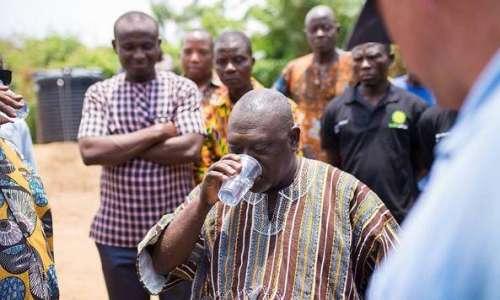 Minister Drink Purified Water Akwansu Village Ghana